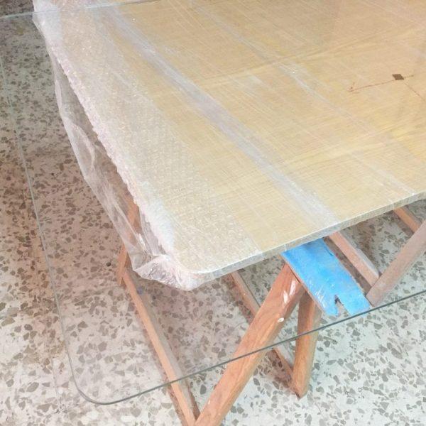 Cristal mesa camilla rectangular de 6mm esquinas redondeadas for Mesas para esquinas