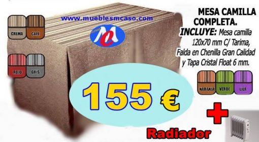 Mesa camilla rectangular completa con radiador