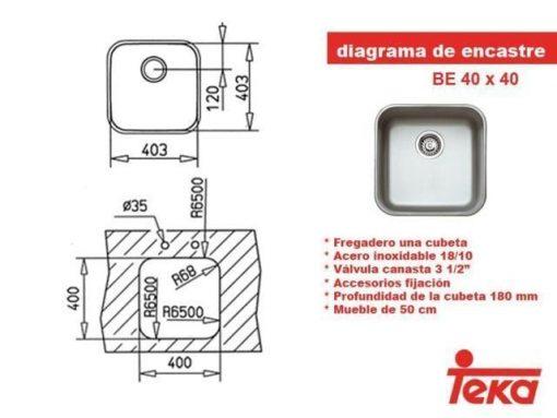 Fregadero Bajo encimera Teka Be-40.40