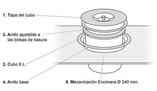 CUBO BASURA ENCASTRABLE EN ENCIMERA