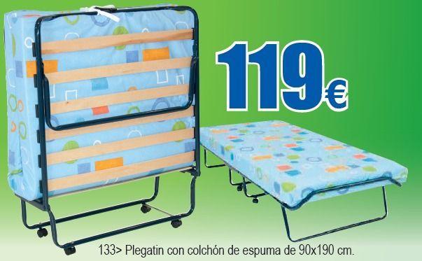 Cama plegable 90x190 con colch n de espuma camas for Mesas supletorias plegables