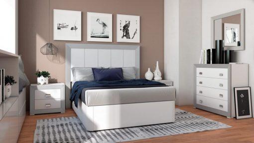 Dormitorio Matrimonio Blanco-Plata