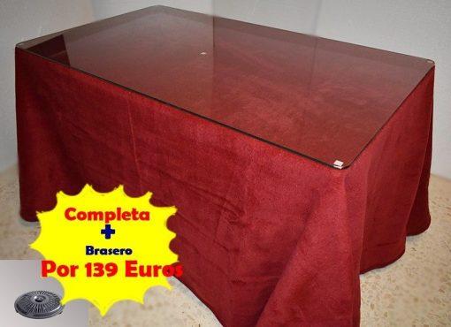 Mesa camilla rectangular completa con brasero