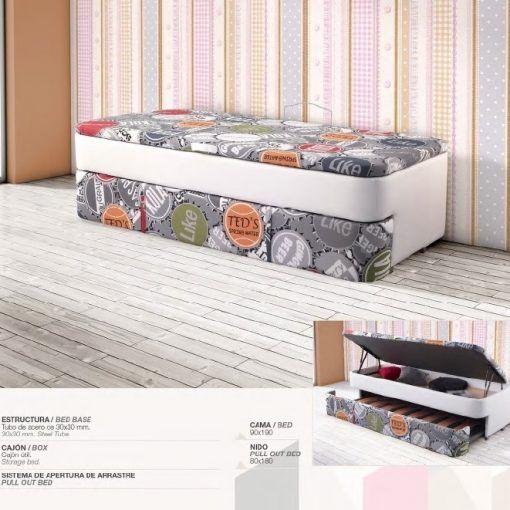 Cama nido de 90x190 en varios colores mueblesmcaso for Cama queen size con cajones